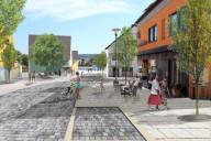Nabburg: Neugestaltungsvorschlag: Naabplatz mit Großzügigkeit und Durchlässigkeit (Bildmontage)