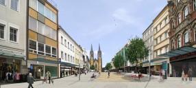 Hof/Saale: Fußgängerzone, Aufwertungskonzept (Bildmontage)