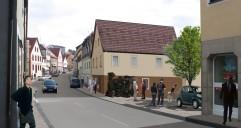 Hollfeld: Langgasse, Abriss eines Hauses um Platz für Fußgänger zu gewinnen